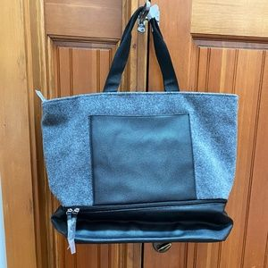 New Grey Felt Tote with leather bottom